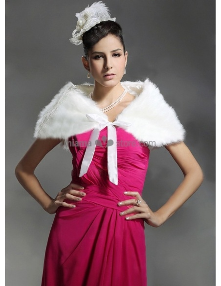 Bright faux fur Satin ribbon Bridal jacket Wedding wrap