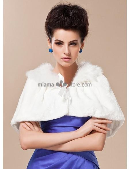Mantellina da Sposa in eco-pelliccia con colletto