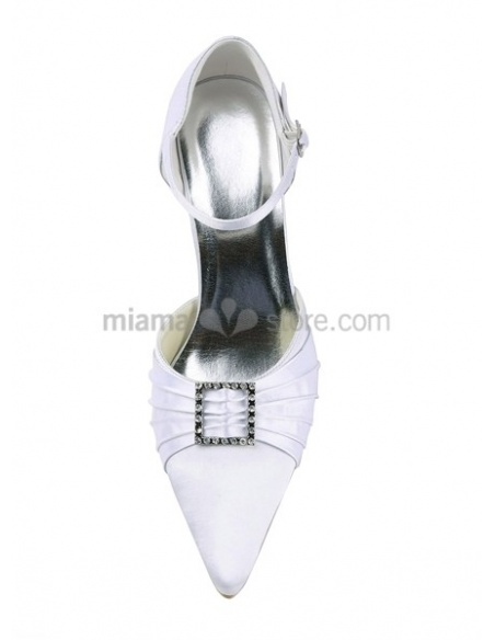 Flat top Satin Rubber sole Wedding shoes