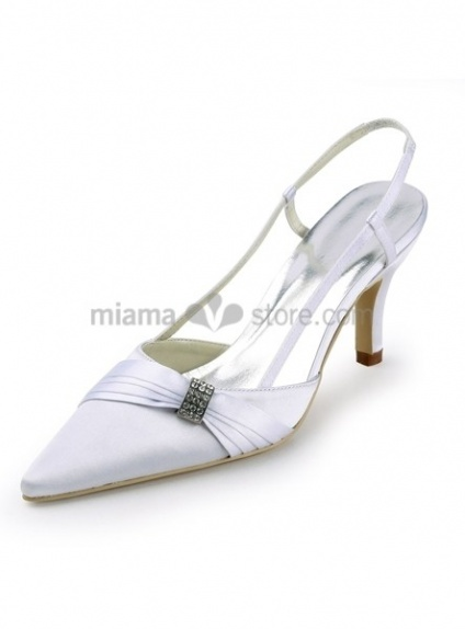 Pointed toe Satin Rubber sole Wedding shoes