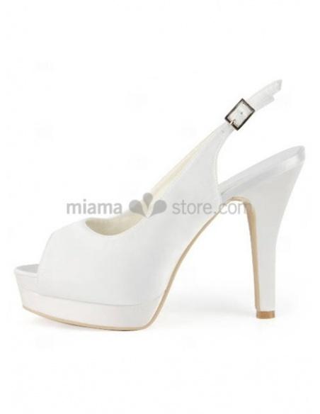 Peep toe Satin Rubber sole Wedding shoes