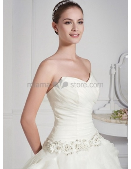 POLINA - A-line V-neck Chapel train Taffeta Wedding dress