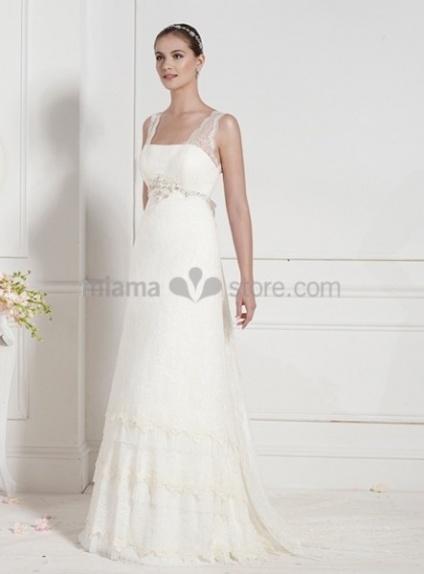 MILICA - Empier waist Sheath Cheap Court train Chiffon Square neck Wedding dress