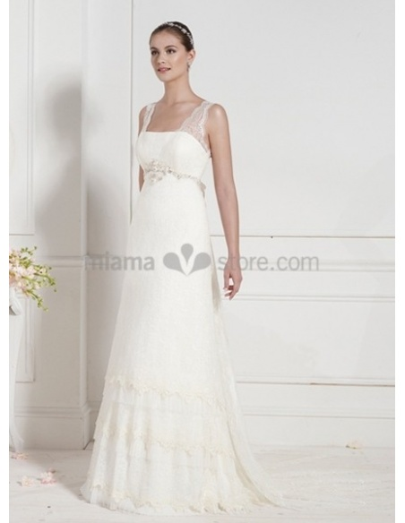 MILICA - Empier waist Sheath Cheap Court train Chiffon Square neck Wedding dress