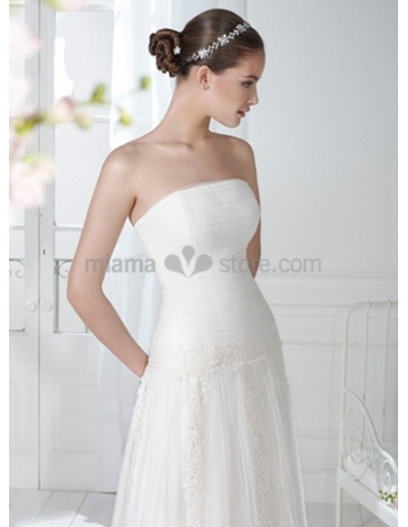 ANDELA - Sheath Strapless Cheap Court train Tulle Wedding dress