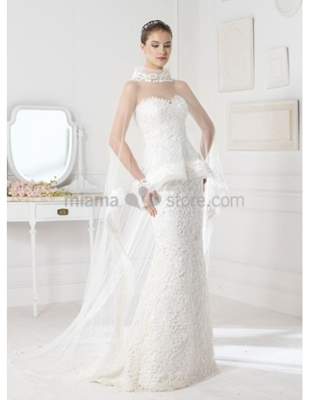 NINA - Sheath Mermaid Sweetheart Court train Lace Wedding dress