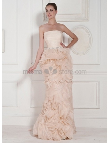 PAULA - A-line Strapless Floor length Organza Wedding dress