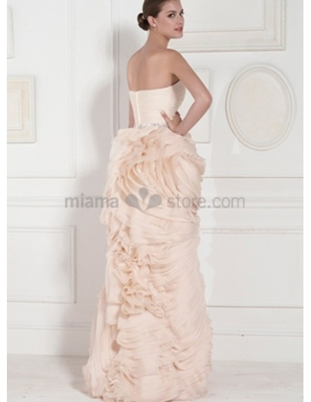 PAULA - A-line Strapless Floor length Organza Wedding dress