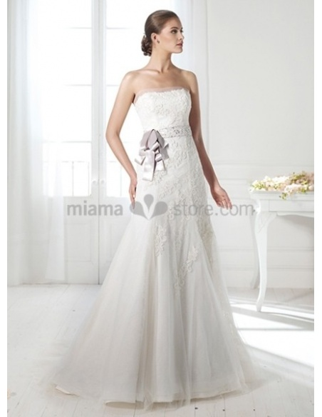 DANIELA - A-line Strapless Empier waist Chapel train Tulle Wedding dress