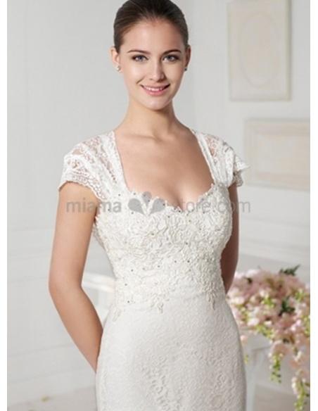 CARLA - A-line V-neck Watteau train Lace Wedding dress