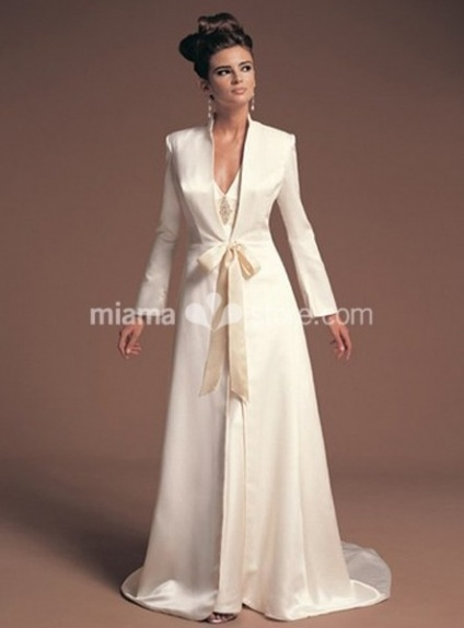 VALERIA - A-line Chapel train Stian V-neck Wedding coat