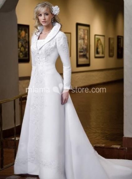 KATIE - A-line Chapel train Stian Turndown collar Wedding coat