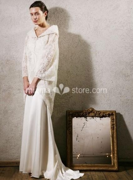 ELLIE - Sheath Lace Turndown collar Wedding coat