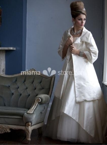 DENISA - A-line Short/Mini Stian Turndown collar Wedding coat