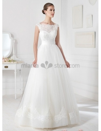 CLAUDIA - A-line Ball gown Empier waist Floor length Tulle Low round/Scooped neck Wedding dress