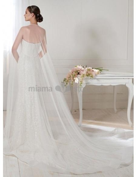 LAIA - Sheath Strapless Chapel train Lace Wedding dress