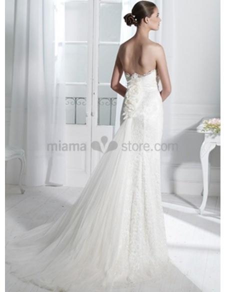 NICOLE - Sheath Strapless Watteau train Lace Wedding dress