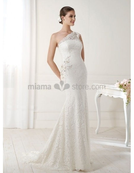 OLENA - Mermaid Sheath Court train Lace One shoulder Wedding dress