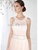 MEGAN - Sheath Cheap Chapel train Chiffon Low round/Scooped neck Wedding dress