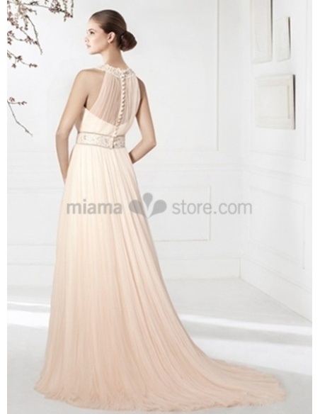 MEGAN - Sheath Cheap Chapel train Chiffon Low round/Scooped neck Wedding dress