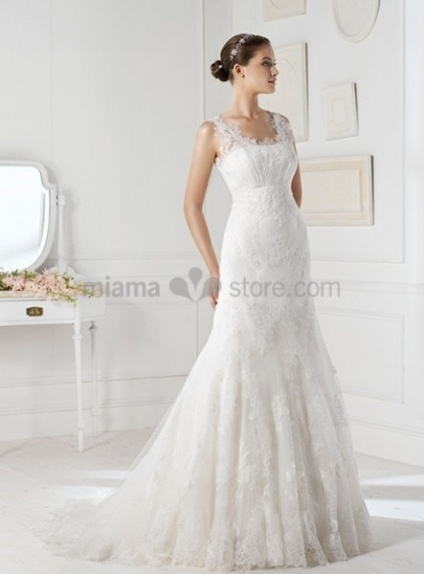 AMANDA - A-line Mermaid Chapel train Organza Low round/Scooped neck Wedding dress