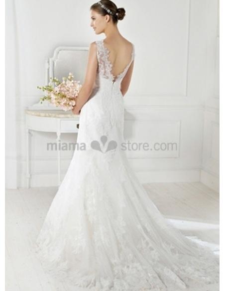AMANDA - A-line Mermaid Chapel train Organza Low round/Scooped neck Wedding dress