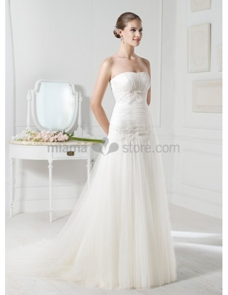 ASHLEY - A-line Strapless Chapel train Tulle Wedding dress