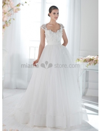 JESSICA - A-line Ball gown Empier waist Floor length Organza V-neck Wedding dress
