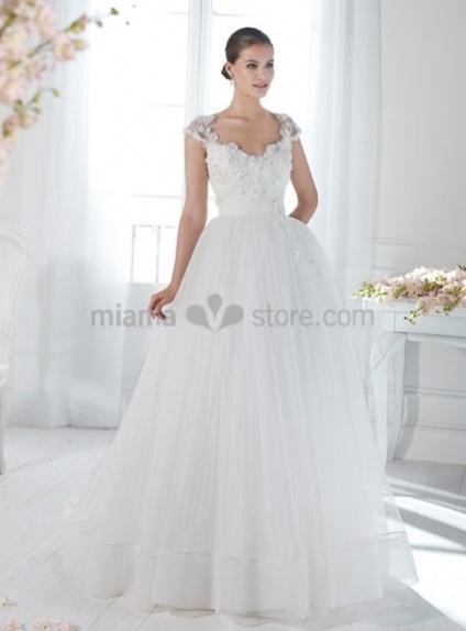 JESSICA - A-line Ball gown Empier waist Floor length Organza V-neck Wedding dress