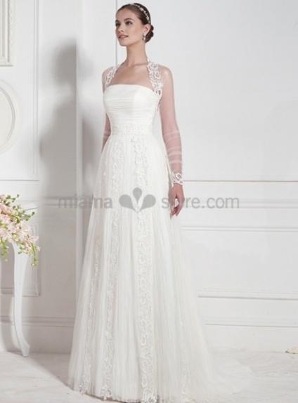 STEPHANIE - Strapless Empier waist Chapel train Lace Wedding dress