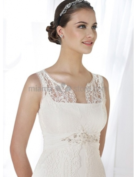 EMMA - Sheath Chapel train Lace Low round/Scooped neck Wedding dress