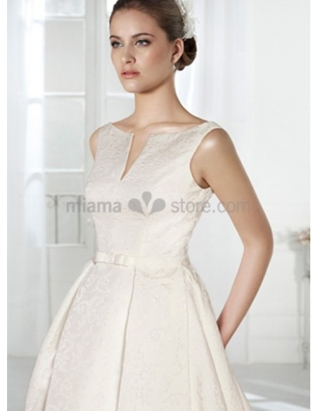 MADISON - A-line Cathedral train Lace Low round/Scooped neck Wedding dress