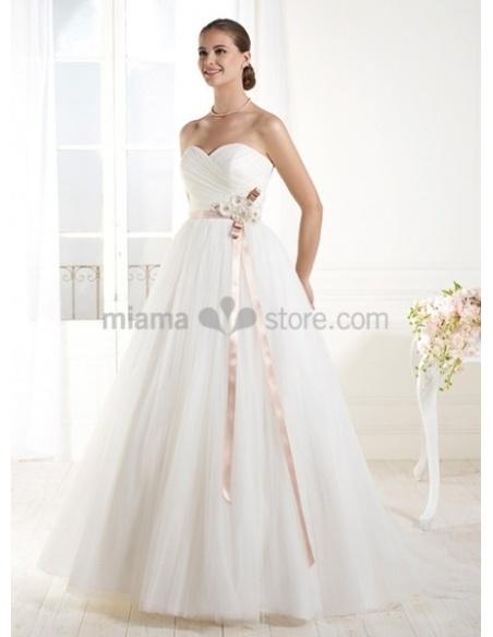 ISABELLA - A-line Sweetheart Empier waist Chapel train Tulle Wedding dress