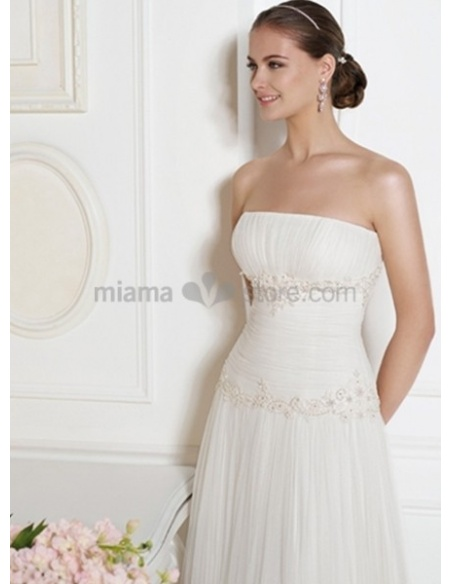 ABIGAIL - A-line Strapless Court train Organza Wedding dress