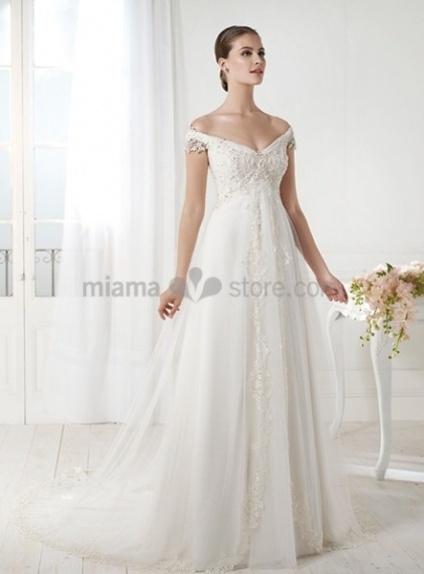 HANNAH - A-line Off the shoulder V-neck Chapel train Tulle Wedding dress