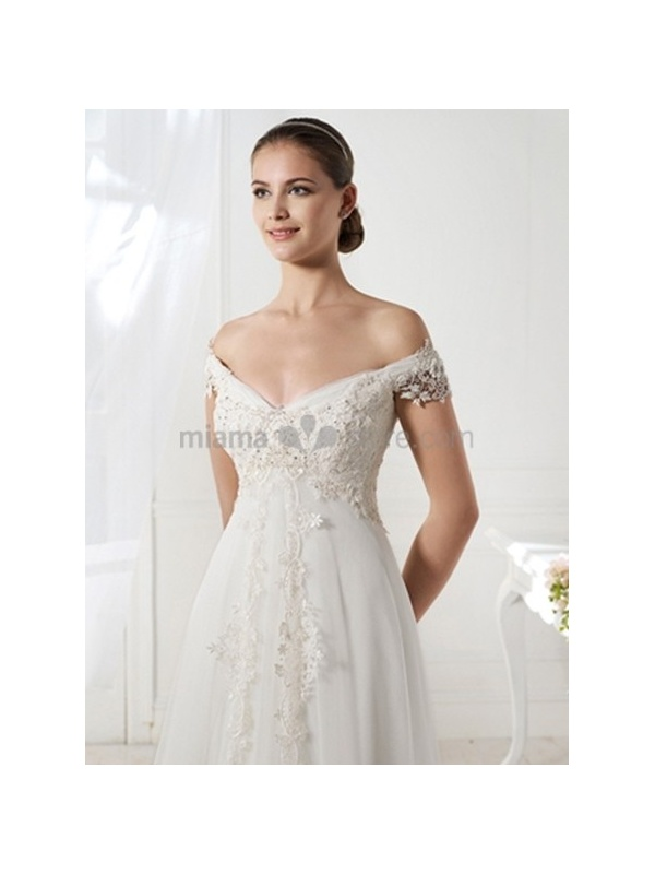 wedding dress a line off the shoulder a line off the shoulder v neck chapel train tulle wedding