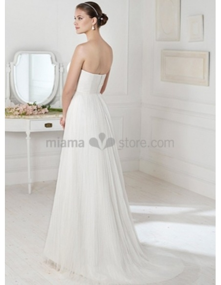 SOPHIA - Sheath Strapless Empier waist Court train Chiffon Wedding dress