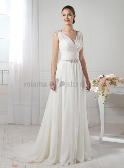SAMANTHA - A-line Empier waist V-neck Chapel train Wedding dress