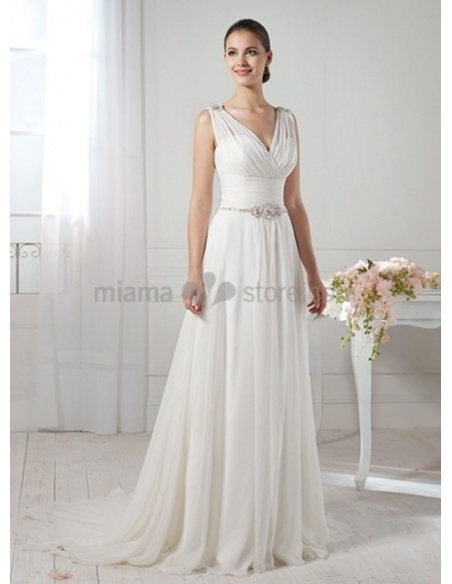 SAMANTHA - A-line Empier waist V-neck Chapel train Chiffon Wedding dress