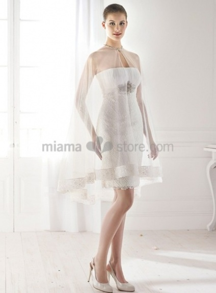 ELIZABETH - Short Strapless Cheap Short/Mini Lace Wedding dress