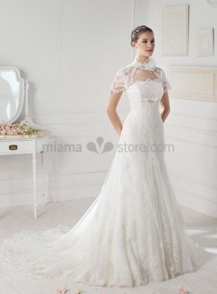 MIA - A-line Strapless Chapel train Organza Wedding dress