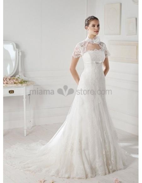 MIA -  Strapless Chapel train Organza Wedding dress