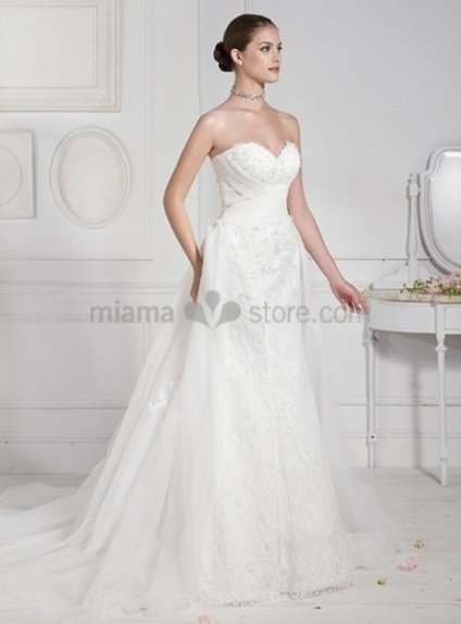 NATALIE - Sheath Sweetheart Watteau train Lace Wedding dress