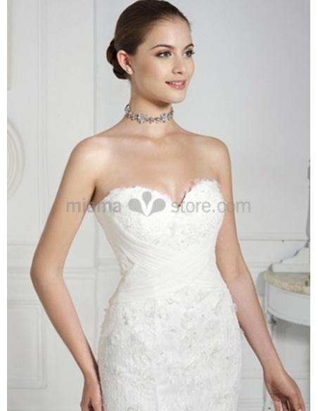 NATALIE - Sheath Sweetheart Watteau train Lace Wedding dress