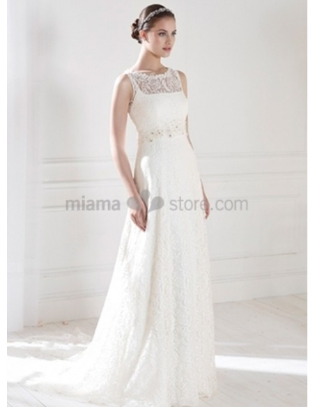 CHLOE - Sheath Empier waist Chapel train Lace High round/Slash neck Wedding dress