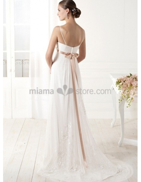 BRIANNA - Sheath Empier waist Spaghetti straps Court train Chiffon V-neck Wedding dress