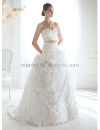 JOAN - A-line Sweetheart Chapel train Organza Wedding dress