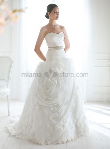 JOAN - A-line Sweetheart Chapel train Organza Wedding dress
