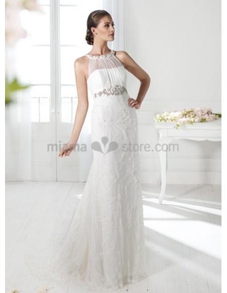 NIKI - Sheath Empier waist Court train Lace High round/Slash neck Wedding dress