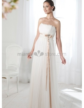 BETTY - Sheath Empier waist Cheap Court train Chiffon Strapless Wedding dress